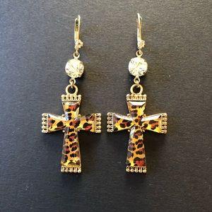 Betsey Johnson Leopard Cross Earrings